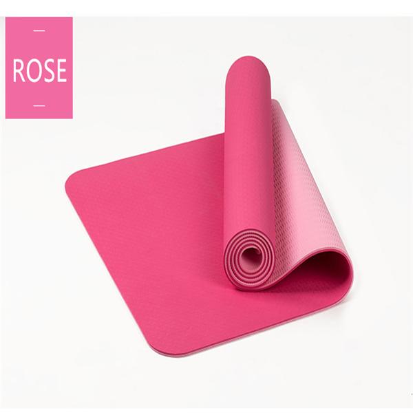 Tpe Bicolor 6mm Yoga Mat Outdoor Fitness Sport Anti Skid
