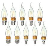 E27 E14 E12 B22 B15 2W 2LEDS LED Plastic&Aluminum Pure White Warm White Filament Light Bulb AC110V