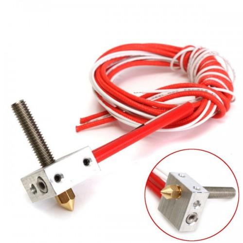 Assembled Aluminum Heating Block Extruder Hot End For 3D Printer 1.75mm MK8 0.4mm Nozzle