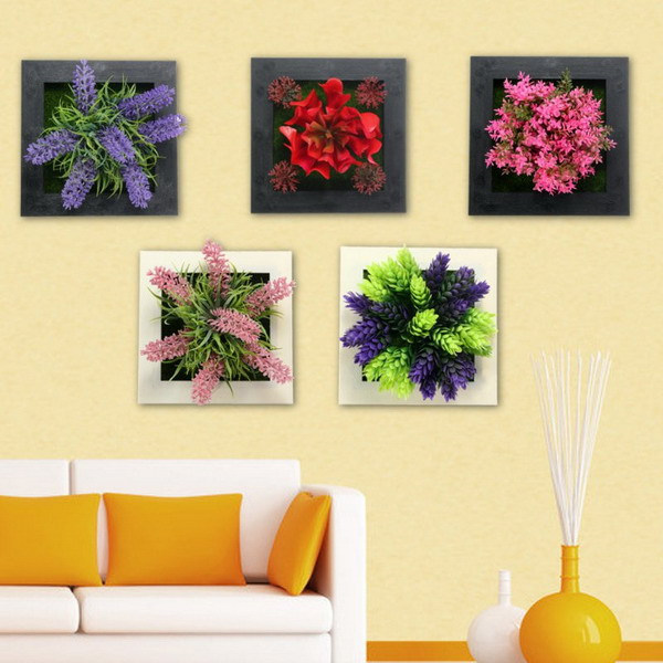 Square Mounted Vertical Wall Hanging Artificial Flower Home Office ...