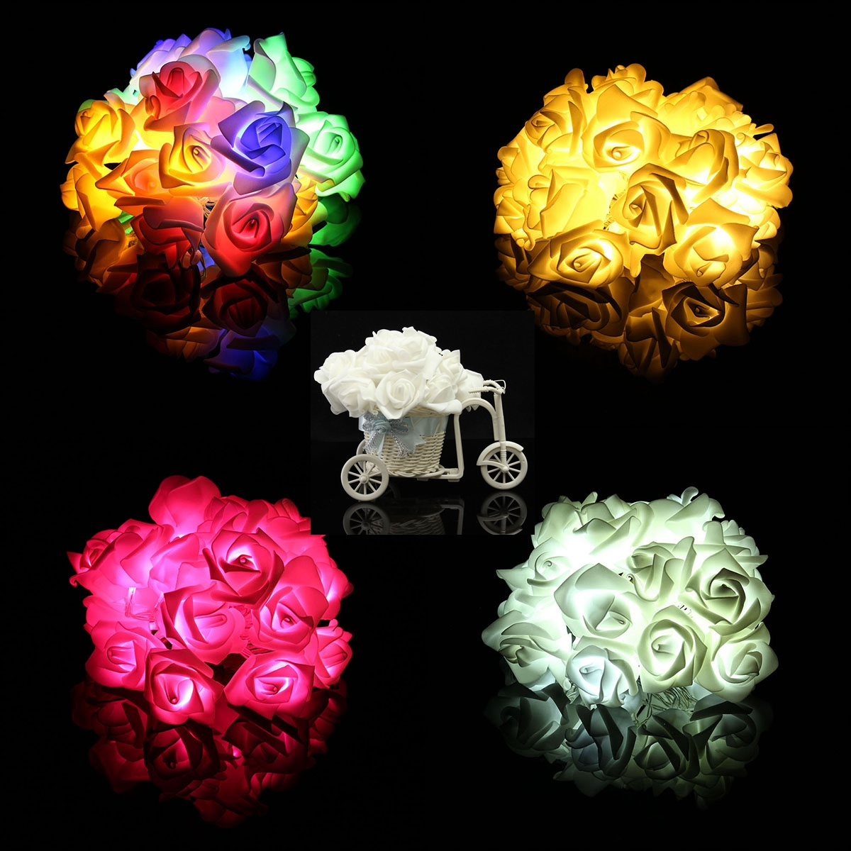 Led Rose String Lights : 20 LED Rose Flower String Lights Fairy Wedding Party Christmas Decoration Alex NLD