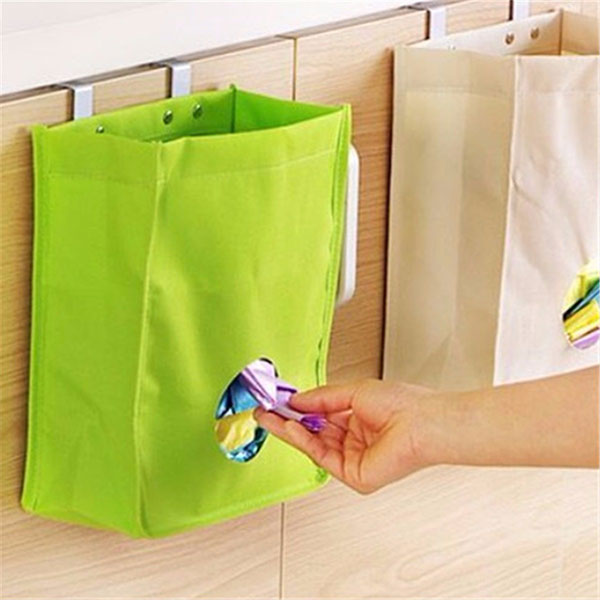 kitchen storage bag drawer cabinet door back garbage bag cabinet door trash bag holder with lid Undercounter Garbage Bag Holder