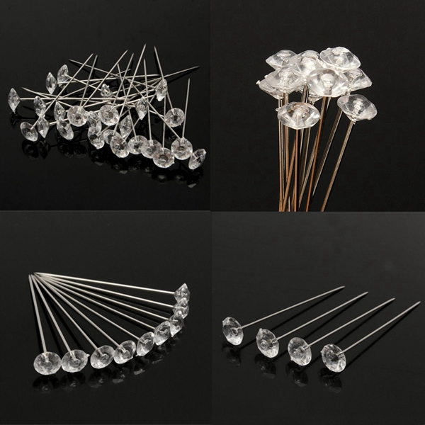 100pcs Clear Diamante Flowers Pins Wedding Bouquet Supplies Diamond Corsage Florist Craft