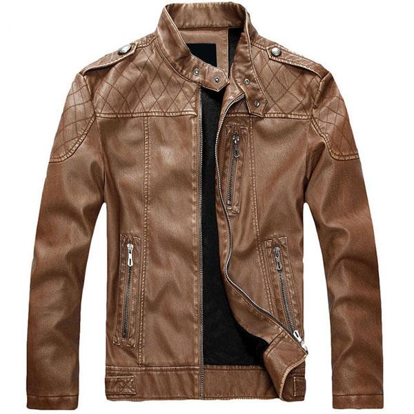 Mens Winter Thicken PU Leather Jacket Stand Collar Zipper ...
