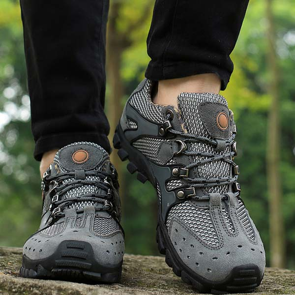Men Hiking Shoes Suede Mesh Outdoor Sport Running Athletic Sneakers