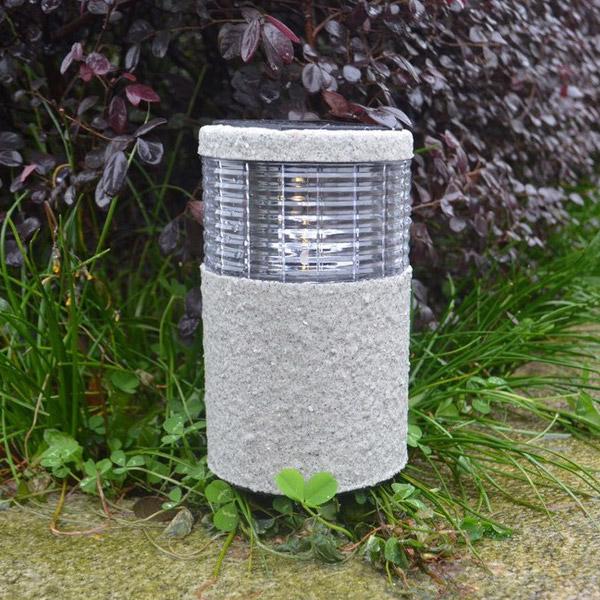Outdoor Post Lights Ireland: Garden Solar Stone Post White Warm White LED Light Outdoor