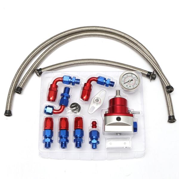 universal adjustable fuel lines hose fuel pressure regulator oil filled gauge fitting kits car. Black Bedroom Furniture Sets. Home Design Ideas