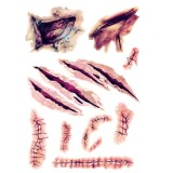 100 PCS Halloween Terror Wound Realistic Scratches Injury Scar Temporary Tattoo Sticker