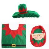 Fancy Christmas Decoration Happy Santa Elf Toilet Seat Cover Rug Bathroom Set