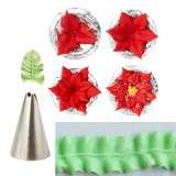 7pcs Leaf Cupcake Decor Stainless Steel Icing Piping Nozzles Set Pastry Tips