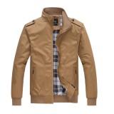 Mens Casual Autumn Stand Collar Jacket Solid Color Nylon Zipper Pocket Coat