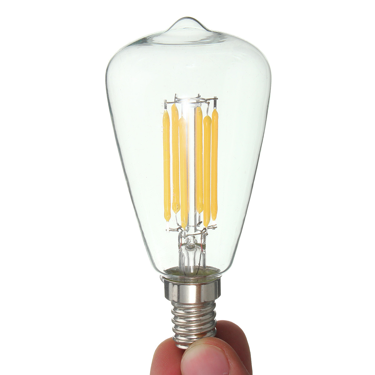 E14 6W LED Filament COB Retro Pure White Warm White Candle Light Lamp Bulb AC220V