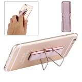 2 in 1 Adjustable Universal Mini Adhesive Holder Stand + Slim Finger Grip for Mobile Phones and Tablets, Size: 7.3 x 2.2 x 0.3 cm (Rose Gold)