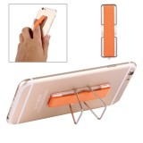 2 in 1 Adjustable Universal Mini Adhesive Holder Stand + Slim Finger Grip for Mobile Phones and Tablets, Size: 7.3 x 2.2 x 0.3 cm (Orange)