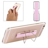 2 in 1 Adjustable Universal Mini Adhesive Holder Stand + Slim Finger Grip for Mobile Phones and Tablets, Size: 7.3 x 2.2 x 0.3 cm (Pink)