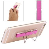 2 in 1 Adjustable Universal Mini Adhesive Holder Stand + Slim Finger Grip for Mobile Phones and Tablets, Size: 7.3 x 2.2 x 0.3 cm (Magenta)