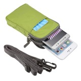 Universal Multi-function Plaid Texture Double Layer Zipper Sports Waist Bag / Shoulder Bag for iPhone 7 & 7 Plus / Samsung Galaxy Note 7 / Sony Xperia Z5 / Huawei Mate 8, Size: 16.5 x 9.0 x 3.0cm (Green)
