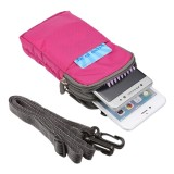 Universal Multi-function Plaid Texture Double Layer Zipper Sports Waist Bag / Shoulder Bag for iPhone 7 & 7 Plus / Samsung Galaxy Note 7 / Sony Xperia Z5 / Huawei Mate 8, Size: 16.5 x 9.0 x 3.0cm (Magenta)