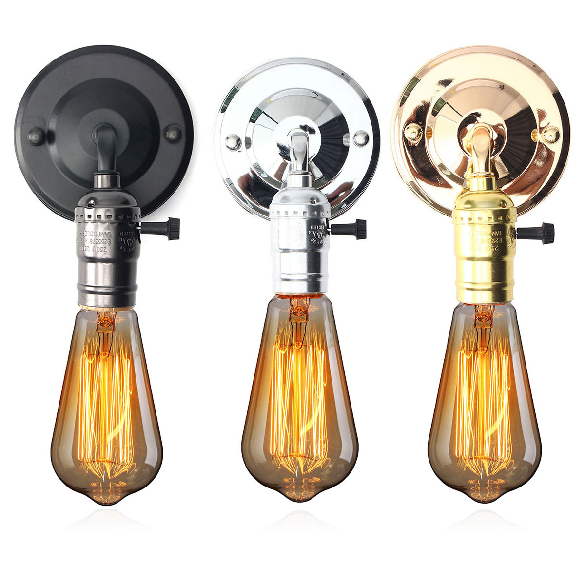 E27 antique vintage switch type wall light sconce lamp bulb socket holder fixture alex nld Lamp bulb types