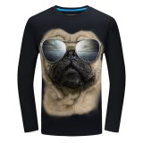 Mens Fashion Casual Fun 3D Sharpei Dog Sunglasses Animal Printing Plus Size Long Sleeve T-shirt