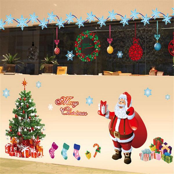 Christmas Tree Wall Sticker Santa Claus Gift Wall Art Window Home ...