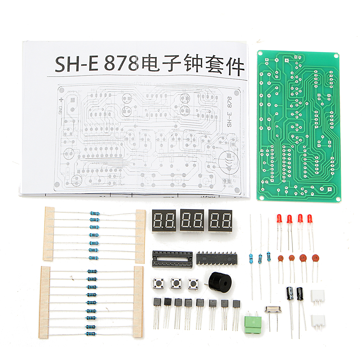 5V-12V AT89C2051 Multi Function Six Digital LED DIY Electronic Clock ...