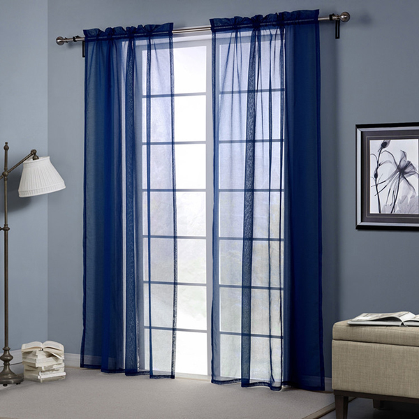 Sheer Blue Window Curtains