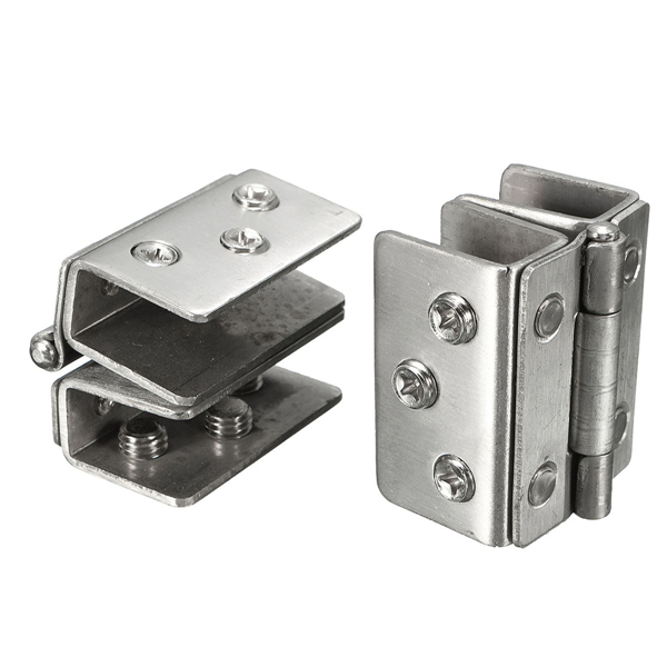 How To Remove A Bathroom Door Handle With Lock: 2Pcs Glass To Glass Door Double Clamp Shower Hinges Grip