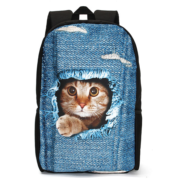 3d Cat Backpack Dog Pattern Denim School Book Bags Travel