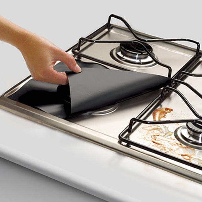 4pcs Kitchen Reusable Aluminum Foil Gas Stove Burner Cover