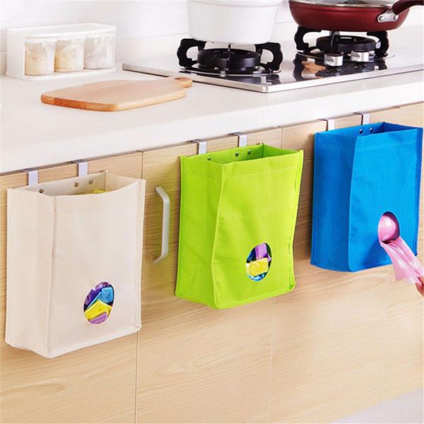 Kitchen Storage Bag Drawer Cabinet Door Back Garbage Bag Holder Hanging  Organizer