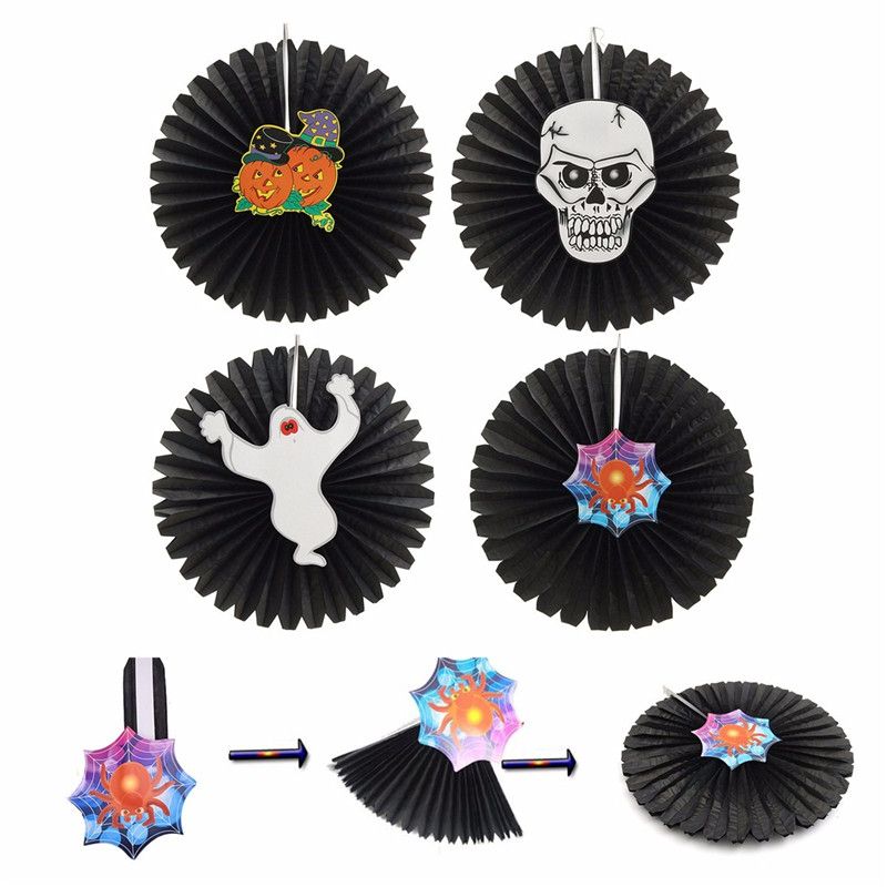 Halloween paper fan wall hanging decoration party home for Home decorations fan