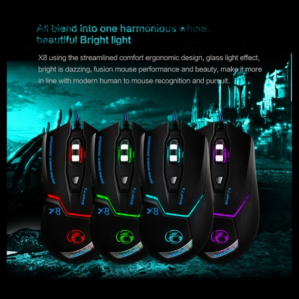 iMICE X8 LED Colorful Light USB 6 Buttons 1600 DPI Wired Optical Gaming Mouse for Computer PC Laptop (Black)