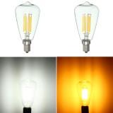 E14 6W LED Filament COB Retro Pure White Warm White Candle Light Lamp Bulb AC220V