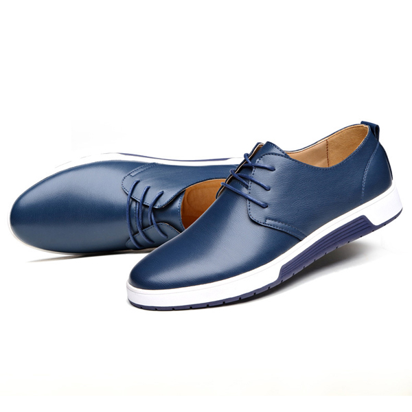 New Men Leather Flat Outdoor Casual Lace Up Soft Round Toe Oxfords ... 686417637598