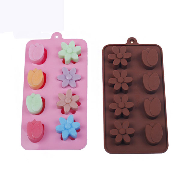 8 Holes Tulip Flowers Shape Silicone Mold Ice Cream Mold Cake Mold Jelly Mold Chocolate Mold