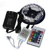 5M SMD 3528 300 Waterproof LED RGB Strip Flexible Light 24 key IR remote + Power Adapter DC12V