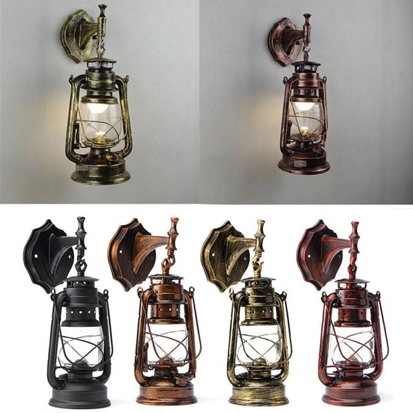 Retro antique vintage exterior lantern wall lamp bar cafe sconce lighting fixture for Vintage exterior light fixtures
