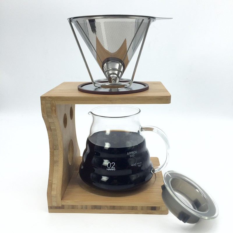 Coffee Maker With Metal Filter : Portable Reusable Stainless Steel V-type Cup Cone Coffee Filters Drip Coffee Maker Tool Alex NLD