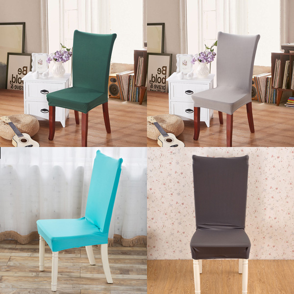 Elegant Fabric Solid Color Stretch Chair Seat Cover Computer Dining Room Hote