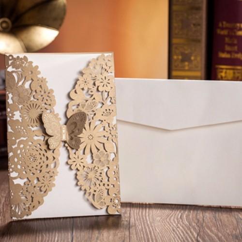 10Pcs Gold Paper Wedding Invitation Envelope Laser Cut Wedding Invitation Cards Birthday Party Card