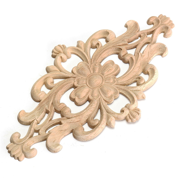 Unpainted wood oak carved onlay applique furniture home