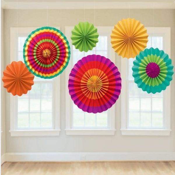Product Description Description 6 Pcs Fiesta Paper Fan Hanging Decorations Home