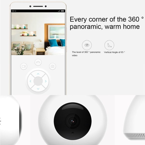 Original Xiaomi MiHome Xiaobai Smart Home Security Camera 1080P Full HD 360 Degrees Pan-shot Motion Detection Infrared Vision Family Assistant, Support Two-way Voice Calls & One Way Video Call & Interactive Voice Chat & Micro SD Card (White)