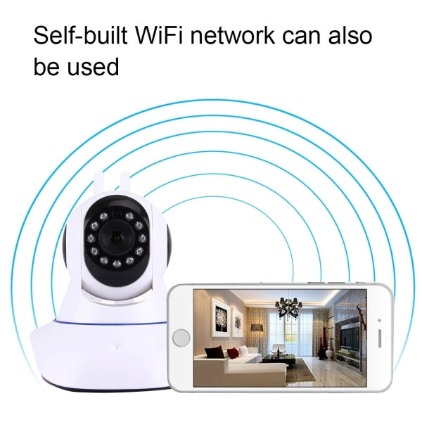 Smart Home Security IP Alarm Camera HD 360 Degrees Rotation PTZ Motion Detection Night Vision Remote Online Viewing Family Assistant, Support WiFi & TF Card & Mobile Phone Remote & Android / IOS / Windows OS