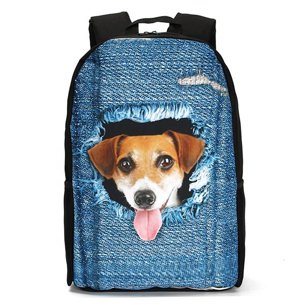 beb430d7c387 3D Cat Backpack Dog Pattern Denim School Book Bags Travel Bags