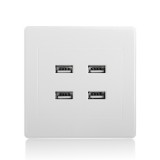 3.1A AC Power Wall Receptacle Socket Plate  Charger Outlet Panel with 4 USB Port