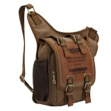 KAUKKO FH03 Retro Style Men Canvas Crossbody Bag Messenger Bag Outdoors Hiking Camping Bag, Size: 26 x 21 x 9 cm (Khaki)