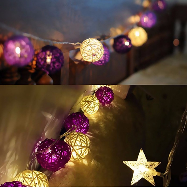 20 LED Rattan Ball String Light Home Garden Fairy Lamp Xmas Wedding Party Decor