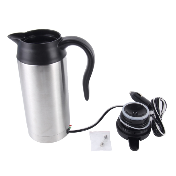 HJ-18A Stainless Steel Electric Mug 750ml DC 12V Car Electric Kettle Heated Mug Car Coffee Cup With Charger Cigarette Lighter Heating Cup Kettle Insulated Water Heater Mug